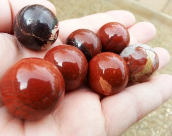 Red Wave Brecciated Jasper A grade sphere ~ One 20mm Reiki infused crystal ball, sphere, marble