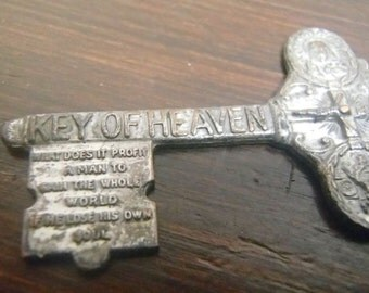 Key Of Heaven, Devotional Pendant, Saint Christopher Be My Guide, Early 1900's