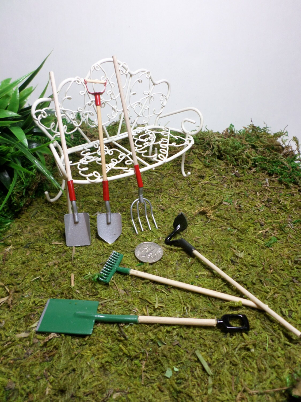 Fairy garden tools set miniature gardening fairy by for Miniature garden tools