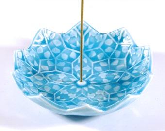 Lotus Blossom Incense Burner - Turquoise Blue Ceramic Incense Holder - Throat Chakra Meditation Aid