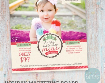 Christmas Photography Marketing - Holiday Mini Sessions - Photoshop template - IC005 - INSTANT DOWNLOAD