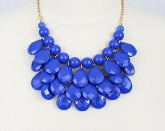 Tear Drop Necklace Blue Statement Necklace Multi Layered Bib Necklace