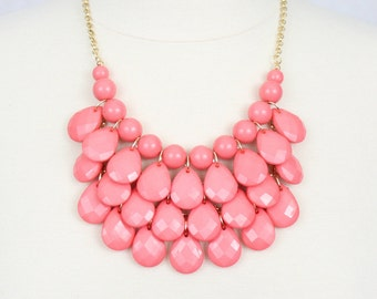 Pink Multi Layered Necklace Chunky Necklace Statement Necklace Teardrop Necklace Melon Pink Bubble Necklace and Earrings Set