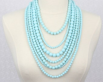 Multi Strand Beaded Necklace Statement Necklace Multi Layered Beads Necklace Seven Strand Beads Necklace Pastel Blue