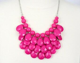 Fuchsia Teardrop Statement Necklace Hot Pink Fuchsia Bib Necklace Free Earrings