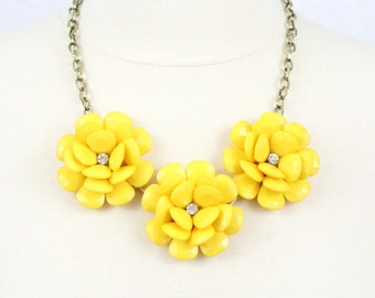 Yellow Flower Necklace Statement Necklace Beaded Rose Necklace Chunky Floral Necklace Collar Necklace Five Flower Necklace