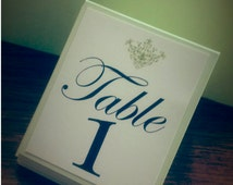 Fabulous Handmade and Custom Table Numbers Unique for Weddings, Birthday, Graduation, Quinceañera Events