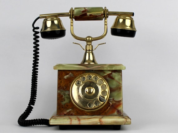 50s Marble Telephone Vintage 1950s French Style Rotary Phone