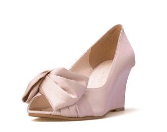 Custom Made Request Nude Satin Wedges, Nude Wedding Wedges, Beach Wedding Shoes, Graden Wedding Shoes, Cream Wedding Shoes