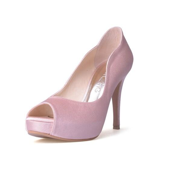 Nude Blush Satin Wedding Shoes Nude Pink Satin Evening Heels-8690