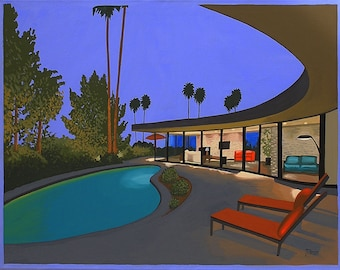 Mid Century Modern Eames Retro Limited Edition Print from Original Painting Circular Patio Night