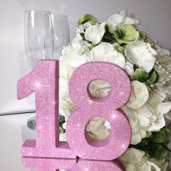 18th Birthday Glitter Table Number Party Decoration Birthday