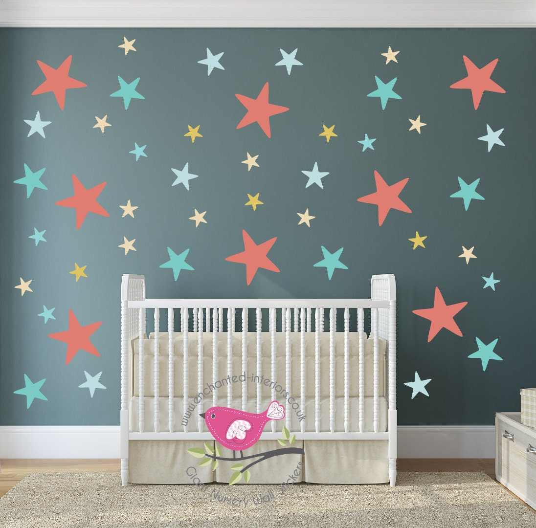 Wall Art Decals For Nursery : Star wall decal coral blue mustard nursery decor baby