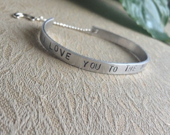 I Love You To The Moon and Back customizable Bracelet Cuff