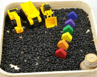 Sensory box, construction theme, diggers and dump truck, work on colors and numbers, preschool learning, hands on learning