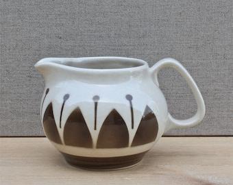 vintage Boch Belgium ceramic creamer, milk jug, 1950's ceramic, geometric detail, chocolate brown, retro home, vintage dining and serving