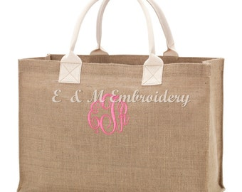 Monogrammed Personalized Burlap Tote Bag