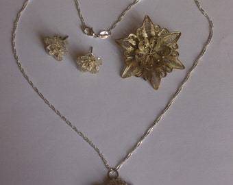 Vintage silver filligree brooch, earrings and necklace