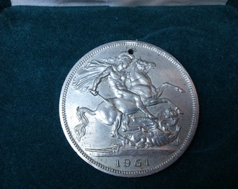 Large vintage holed 5 shilling coin 1951