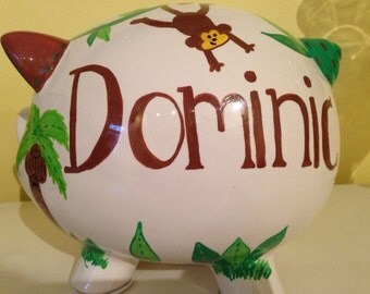 Large handpainted piggy bank