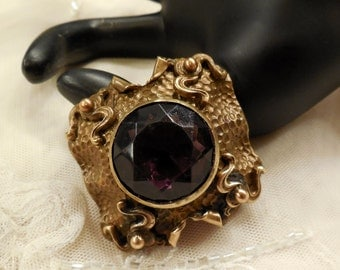 Vintage Antique Brass Brooch with a Purple Glass
