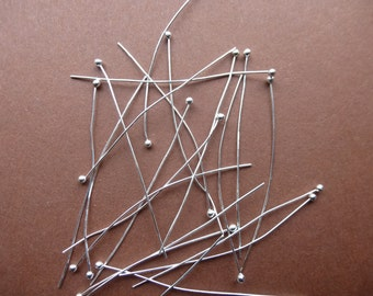 Silver plated ball headpins.    .5mm x 50mm.  Set of 100