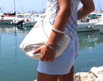 Nautical handbag Yacht - Nautical Art Fashion Design, Sailor Style! White cotton, blue embroidery. Spectacular gift!