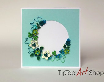 Paper Quilling Handmade Flower Greeting Card for Any Occasion; Personalized; Blank