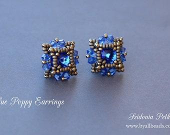 Beaded Post Earrings Tutorial - Crystal Stud Earrings - 8mm rivoli bezel - PDF pattern - Digital Download