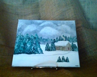 "Original 8 x 10 Acrylic Painting ""Trapper Cabin"""