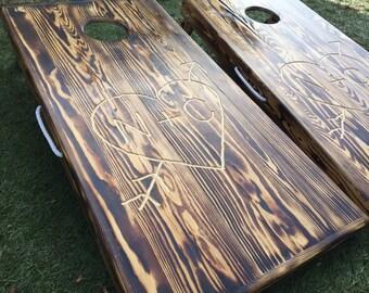 Real Wood Burned and Engraved Custom Cornhole Board Set