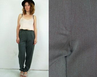 80's vintage women's high waisted grey pants