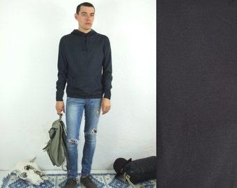 90's vintage men's knitted dark blue hoodie