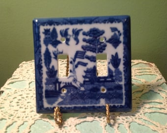 Oriental Blue Double Light Switch Cover