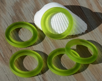 2PCs (27mm) Olive Green Bottle-neck Style Rings Cultured Sea Glass Beach Glass Pendant Bead - 2 Pieces