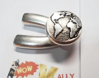 World Button Wishbone Half Clasp, Silver Half Bracelet, Half hook,
