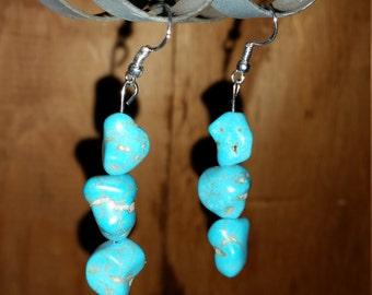 Howlite turquoise drop earrings