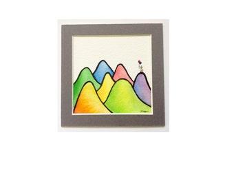 Lonely Girl Series Original Watercolour Illustration Hills