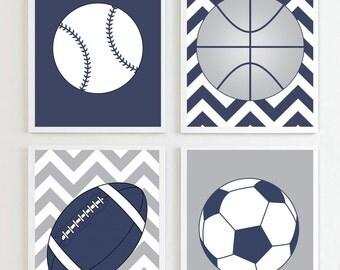 Sports Prints, Printables, Football, Soccer, Baseball, Basketball Navy Grey 8x10 Each set of 4, Nursery Prints, Sports Decor