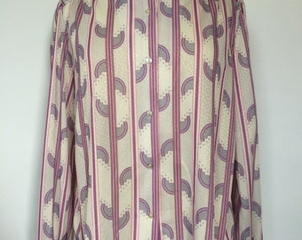 1970s vintage striped purple gray pink blouse large