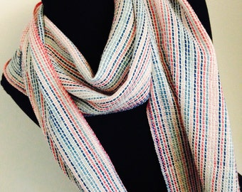 Bomb Pop Handwoven Scarf, Red White and Blue Scarf, Wool Scarf, Hand Woven Scarf, Woven Scarf, Handmade Scarf