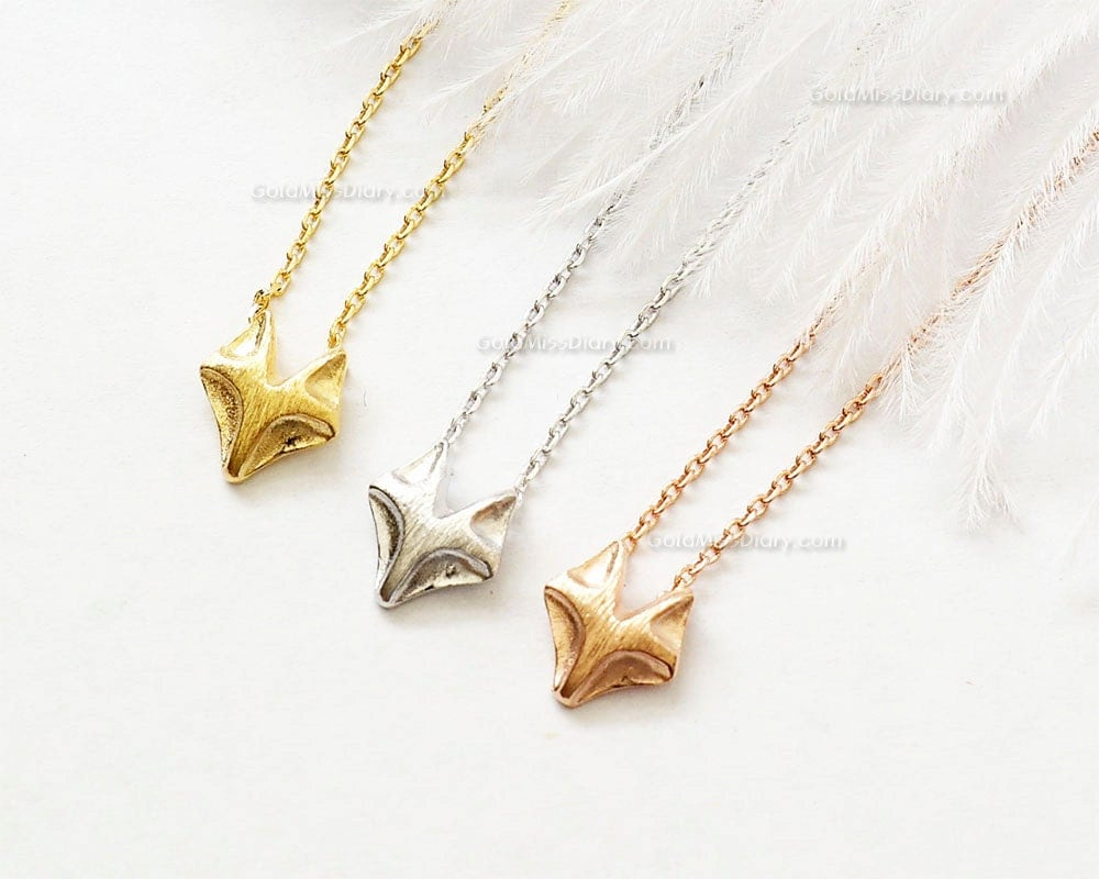 fox necklace in gold tiny fox gold necklace