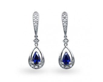 Vintage Sri Lankan Blue Sapphire Earrings