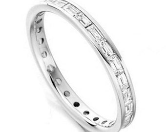 Baguette Eternity Ring Full Set in White Gold, 18K