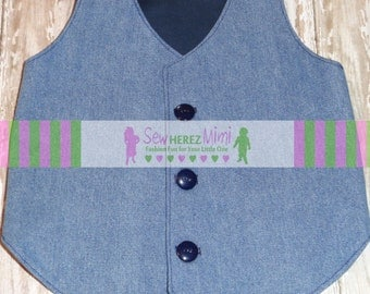 Denim Vest NEWBORN 0-6 months Vest READY to SHIP