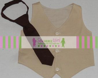 Tan Brown Ring Bearer Vest Tie Set Infant Toddler thru Youth 10