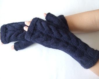 Knitted of  ANGORA and wool. Deep BLUE fingerless gloves, wrist warmers, fingerless mittens. HANDMADE.