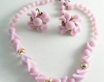Vintage Lavender Pink Glass Beaded Necklace Set  Unique vintage, antique, costume and estate jewelry.