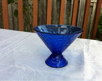 Vintage Pressed Cobalt Blue Glass Sugar Candy Bowl Dish Pedestal. Made in France