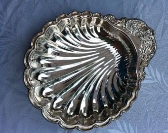Silver Plate Shell Fruit Desert Serving Dish Bowl